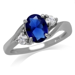Synthetic Blue Sapphire White Gold...
