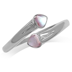 Pink Mother Of Pearl Heart Inlay 925 Sterling Silver Bypass Ring