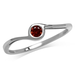 Petite Natural Garnet 925 Sterling Silver White Gold Plated Promise Ring