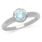 1ct. Genuine Sky Blue Topaz 925 Sterling Silver Filigree Solitaire Ring