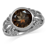 3.34ct. 10MM Natural Round Shape Smoky Quartz White Gold Plated 925 Sterling Silver Filigree Ring
