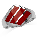 3-Stone Created Red Coral Inlay Wh...