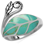 Created Green Turquoise Inlay 925 Sterling Silver Leaf Vintage Inspired Ring