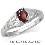 Natural Garnet 925 Sterling Silver Plated Filigree Solitaire Ring