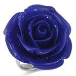 34MM HUGE Lapis Blue Stainless Steel Plastic ROSE/FLOWER Ring