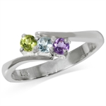 3-Stone Natural Peridot, Blue Topaz & Amethyst 925 Sterling Silver Ring