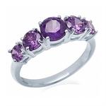 5-Stone Amethyst Purple CZ 925 Ste...