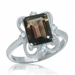 2.7ct. Natural Smoky Quartz & White Topaz 925 Sterling Silver Ring