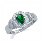 Tsavorite Green CZ & White CZ 925 Sterling Silver Classic Ring