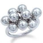 Beads Ball 925 Sterling Silver CLUSTER Ring
