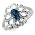 Natural London Blue & White Topaz 925 Sterling Silver Filigree Ring