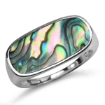 Abalone/Paua Shell Inlay 925 Sterling Silver Modern Solitaire Ring