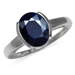 3.35ct. Natural Black Sapphire 925 Sterling Silver Solitaire Ring