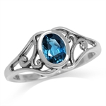 Genuine London Blue Topaz 925 Sterling Silver Filigree Solitaire Ring