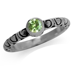 Natural Peridot 925 Sterling Silver Stack/Stackable Swirl Solitaire Ring