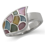 Multi Colored Mother of Pearl (MOP) 925 Sterling Silver Modern Ring