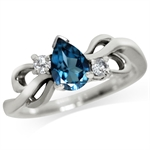 Genuine London Blue & White Topaz 925 Sterling Silver Ribbon Ring