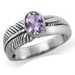 Natural Amethyst 925 Sterling Silver LEAF Ring