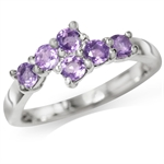Natural Amethyst 925 Sterling Silver Bypass Ring