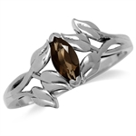 Natural Smoky Quartz 925 Sterling Silver Leaf Solitaire Ring