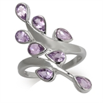 1.68ct. Natural Amethyst 925 Sterling Silver Bypass Leaf Ring
