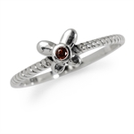 Natural Garnet 925 Sterling Silver Butterfly Stack/Stackable Ring