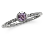 Natural Amethyst 925 Sterling Silver Solitaire Stack/Stackable Ring