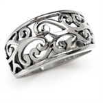 925 Sterling Silver Filigree Victorian Style Wide Band Ring
