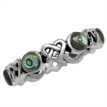5MM Abalone/Paua Shell 925 Sterling Silver Celtic Heart Knot Eternity Ring