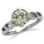 1.7ct. Natural Green Amethyst White Gold Plated 925 Sterling Silver Celtic Knot Ring SZ
