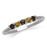 Petite Natural Smoky Quartz & Citrine White Gold Plated 925 Sterling Silver Rope Ring