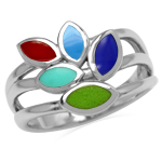 Created Green Gaspeite, Lapis & Turquoise & Red Coral 925 Sterling Silver 3-Line Leaf Ring