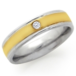 5MM White CZ Two-Tone Stainless Steel Engagement Ring