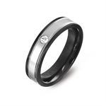 Women CZ 2-Tone Black 316L Stainless Steel Eternity Wedding  Band Ring