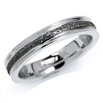 4MM 2-Tone 316L Stainless Steel Black Sandblasted Stack/Stackable Ring