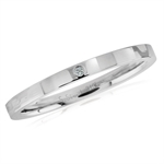 Women CZ 316L Stainless Steel Hammered Stack/Stackable Band Ring