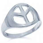 Peace Sign 925 Sterling Silver Ring