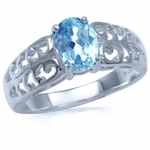 1.5ct. Genuine Blue Topaz Sterling Silver Filigree Ring