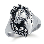 925 Sterling Silver Horse Ring