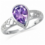 1.79ct. Natural Amethyst 925 Sterling Silver Filigree Solitaire Ring