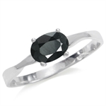 1.11ct. Natural Black Sapphire 925 Sterling Silver Solitaire Ring