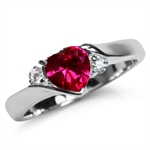 Heart Shape Simulated Ruby Red & White CZ 925 Sterling Silver Engagement Ring