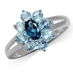 Genuine London & Blue Topaz 925 St...