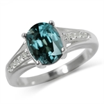 2.65ct. Color Change Alexandrite Doublet & White Topaz 925 Sterling Silver Ring