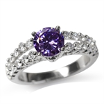 Amethyst Purple & White CZ Gold Pl...