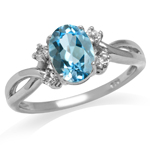 1.53ct. Genuine Blue Topaz 925 Sterling Silver Engagement Ring