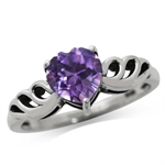 1.04ct. Natural Heart Shape Amethyst 925 Sterling Silver Angel Wing Solitaire Ring