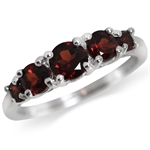 1.57ct. 5-Stone Natural Garnet 925 Sterling Silver Ring