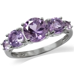 2.25ct. 5-Stone Natural Amethyst White Gold Plated 925 Sterling Silver Ring