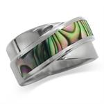 Abalone/Paua Shell 925 Sterling Silver Modern Ring